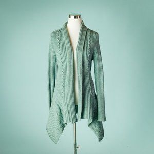 Anthro Canary M Knitting Needles Open Cardigan